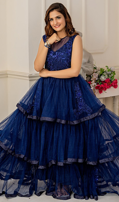 Navy Blue Color Shaded Net Gown