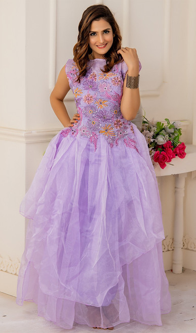 Evening Gown in Purple Color Shaded Net