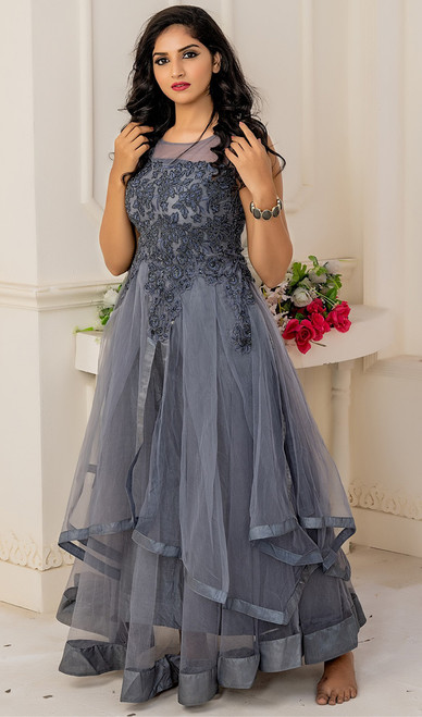 Gray Color Shaded Net Gown