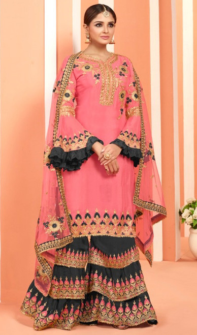 Pink Color Embroidered Fox Georgette Palazzo Suit