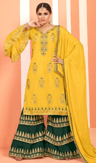 Yellow Color Georgette Embroidered Palazzo Dress