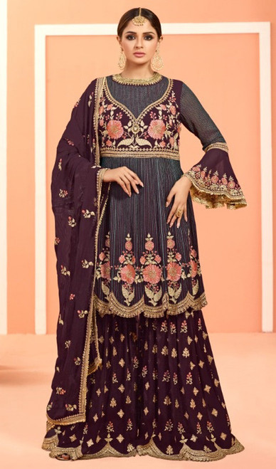 Gray Color Embroidered Fox Georgette Palazzo Suit