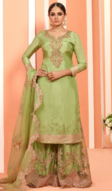 Green Color Georgette Embroidered Palazzo Dress