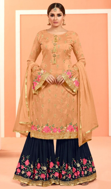 Beige Color Fox Georgette Embroidered Palazzo Suit