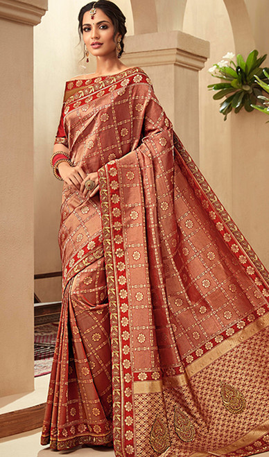 Red Color Embroidered Jacquard Silk Sari