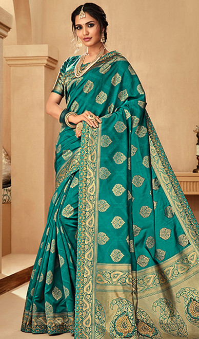 Green Color Jacquard Silk Embroidered Sari