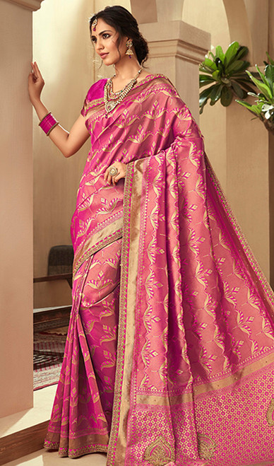 Pink Color Embroidered Jacquard Silk Sari