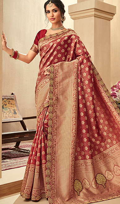 Maroon Color Jacquard Silk Embroidered Sari