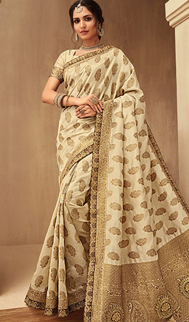 Beige Color Embroidered Jacquard Silk Sari