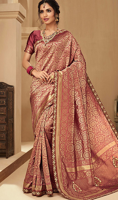 Pink Color Shaded Jacquard Silk Embroidered Sari