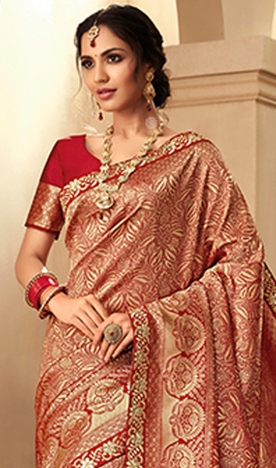 Red Color Shaded Embroidered Jacquard Silk Sari