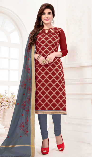 Maroon Color Banarasi Jacquard Churidar Suit