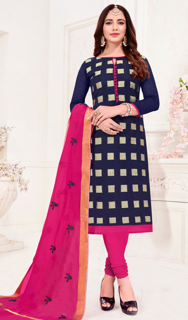 Navy Blue Color Banarasi Jacquard Churidar Kameez