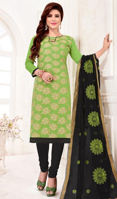 Churidar Kameez in Green Color Banarasi Jacquard