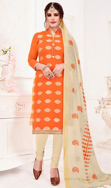 Churidar Dress in Orange Color Banarasi Jacquard