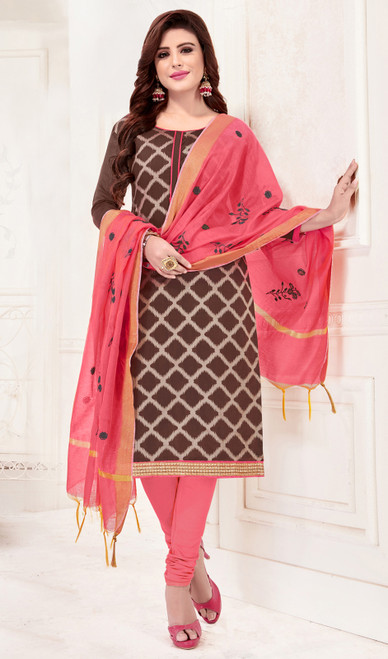 Churidar Suit in Brown Color Shaded Banarasi Jacquard