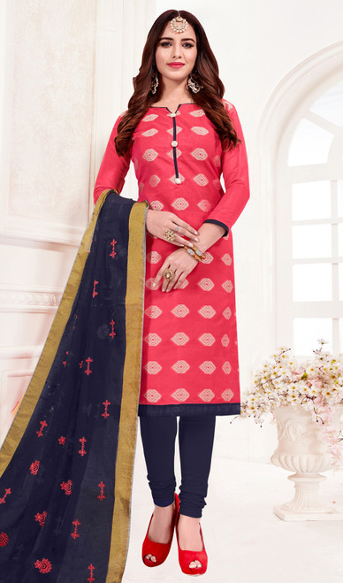 Pink Color Shaded Banarasi Jacquard Churidar Suit