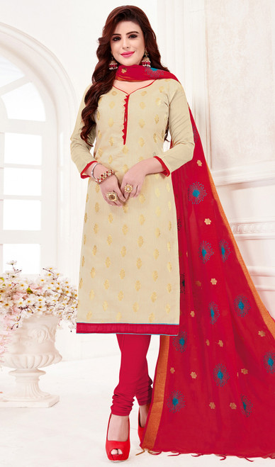Cream Color Banarasi Jacquard Churidar Dress