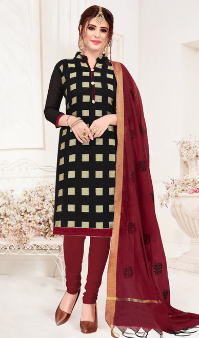 Churidar Suit, Banarasi Jacquard Fabric in Black Color