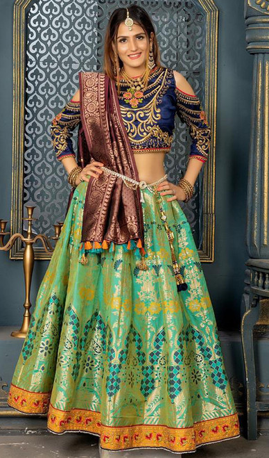 Green Color Banarasi Silk Lehenga Choli