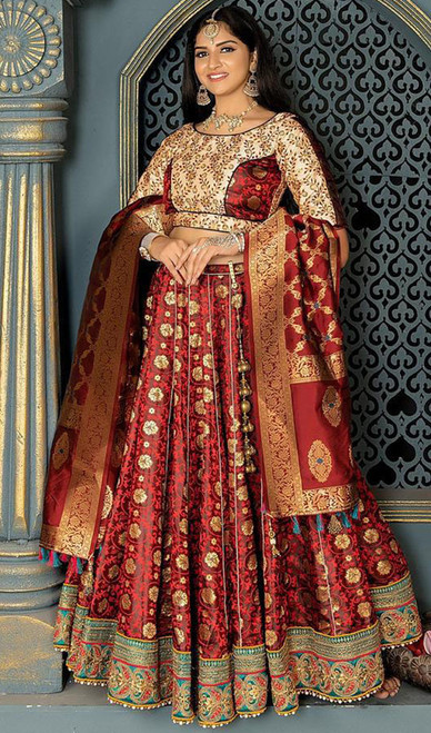 Maroon Color Banarasi Silk Lahenga Choli