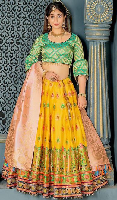Lehenga Choli, Banarasi Silk Fabric in Yellow Color