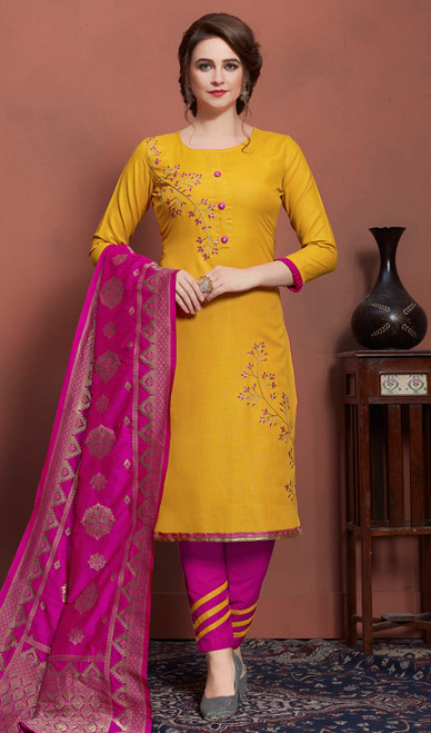 Yellow Color Cotton Pant Style Suit
