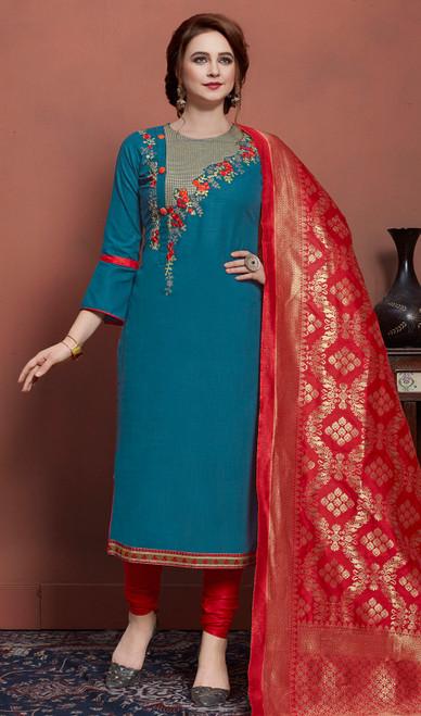 Blue Color Cotton Pant Style Dress