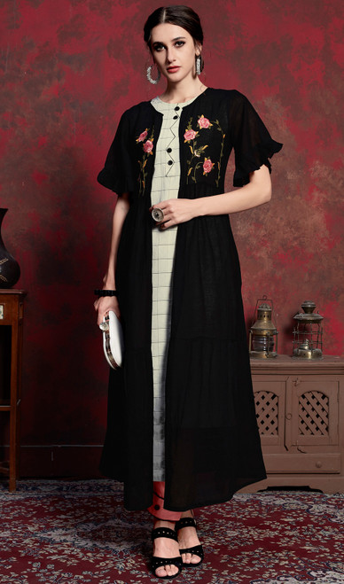 Black Color Shaded Crepe Tunic