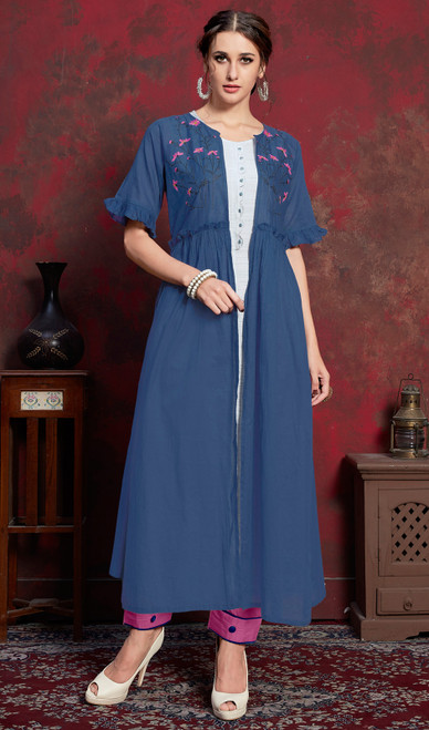 Blue Color Shaded Crepe Tunic