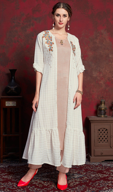 White  Color Shaded Crepe Tunic