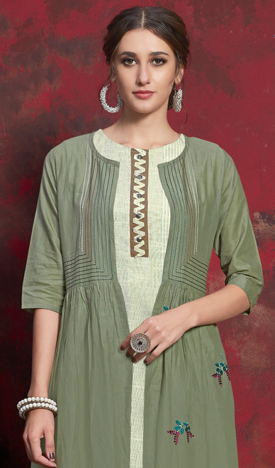 Green Color Shaded Crepe Tunic