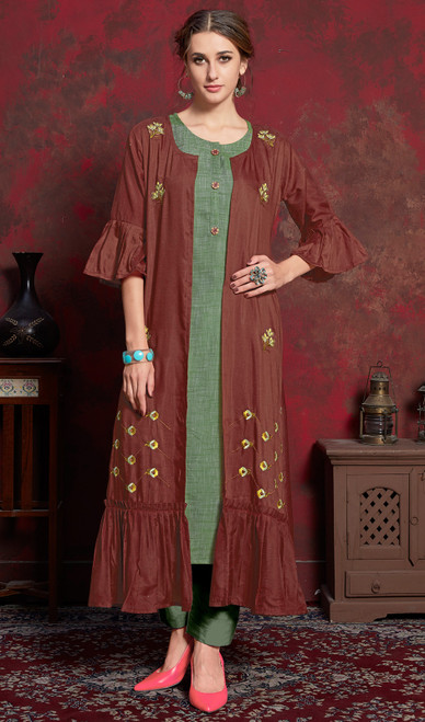 Rust and Green Color Shaded Crepe Tunic