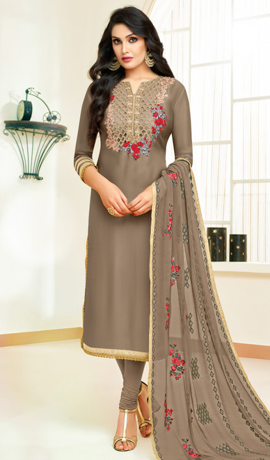 Brown Color Shaded Silk Churidar Suit