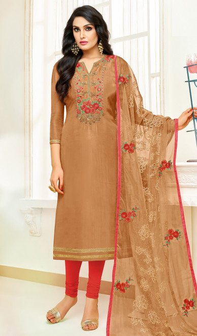 Beige Color Shaded Silk Churidar Dress