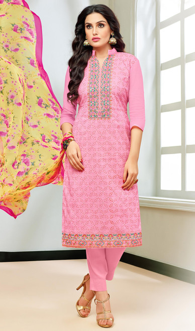 Pink Color Shaded Silk Pant Style Dress