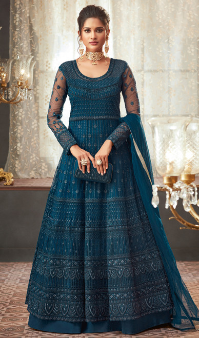 Net Blue Color Embroidered  Anarkali Suit