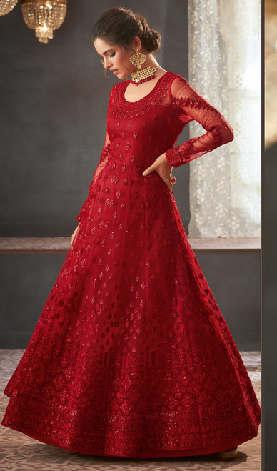 Red Shaded Color Net Embroidered Anarkali Dress