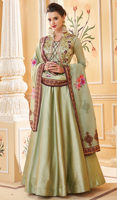 Green Shaded Color Embroidered Silk Anarkali Suit