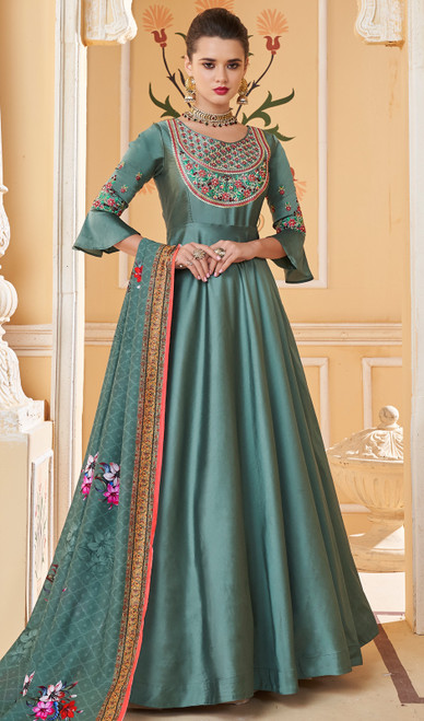 Greenish Blue Color Shaded Silk Anarkali Dress