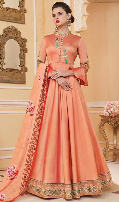 Peach Color Shaded Silk Embroidered Anarkali Suit