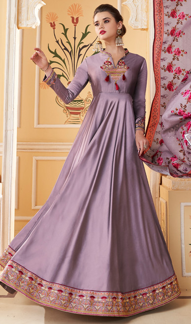 Purple Color Embroidered Silk Anarkali Dress