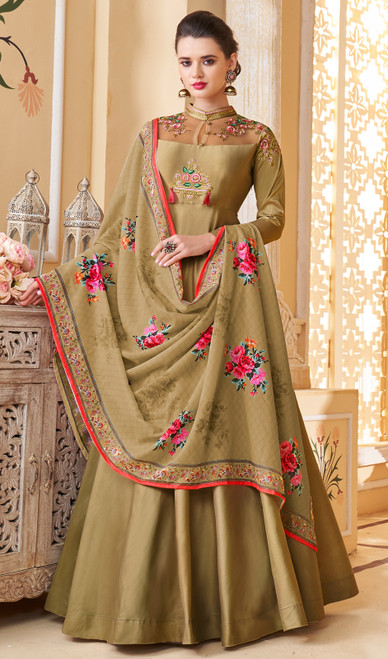 Anarkali Suit in Mehendi Color Shaded Silk