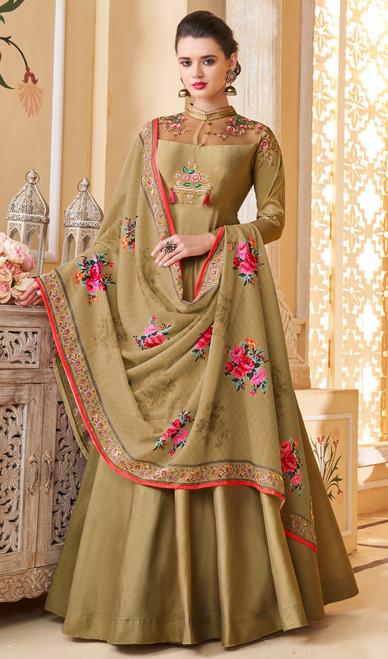 Anarkali Suit in Mehendi Color Shaded Silk