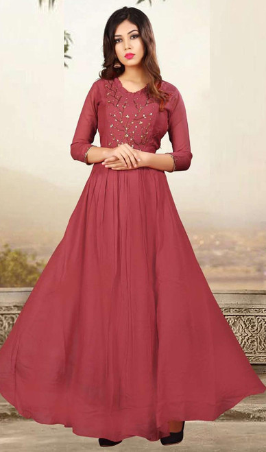 Maroon Color Shaded Muslin Gown