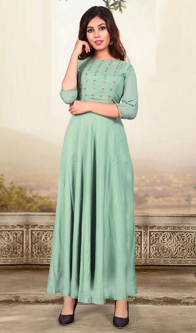 Aqua Green Color Shaded Muslin Gown