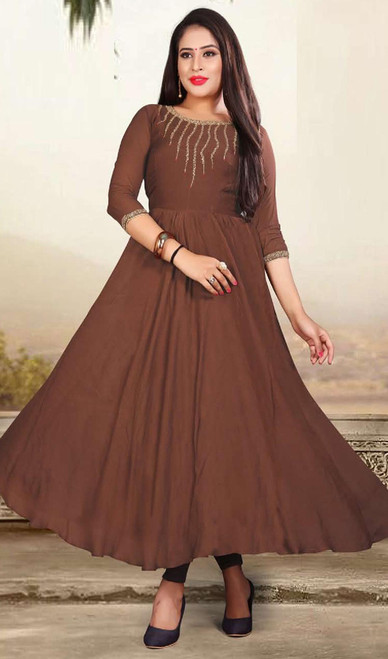 Chocolate Color Shaded Muslin Gown