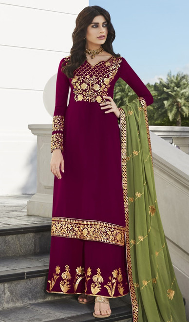 Magenta Color Georgette Embroidered Palazzo Suit