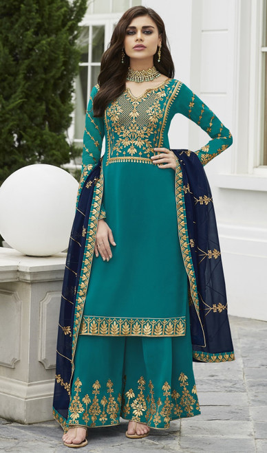 Sea Green Color Shaded Georgette Palazzo Dress