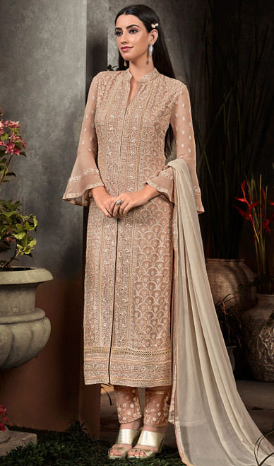 Brown Color Embroidered Georgette Pant Style Suit